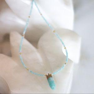 Aquamarine Small Spike Crystal Necklace